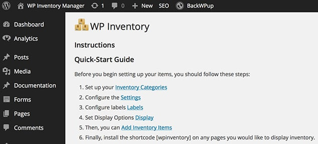 WP Inventory Main Tab